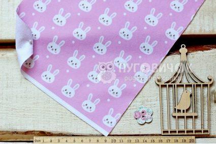 """Фетр м'який з візерунком """"Кролики білі на рожевому"""""""