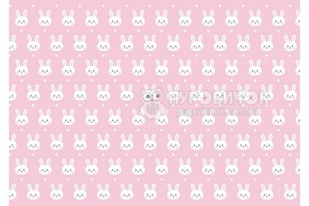 "Фетр мягкий с узором ""Кролики белые на розовом"""