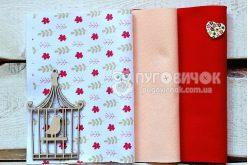 """Набор мягкого корейского фетра """"Цветы красные и листья"""" КМ №"""