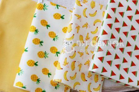 """Ткань """"Бананы"""" на молочном"""