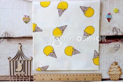 """Ткань """"Мороженое жёлтое"""" на белом"""
