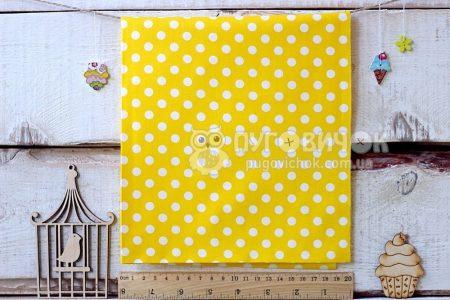 """Ткань """"Горох большой белый"""" на жёлтом"""