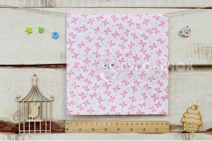 """Тканина """"Бантики рожеві на білому"""" 160*100см"""