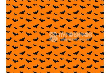 """Фетр мягкий с узором """"Летучие мыши черные на оранжевом"""""""
