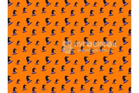 """Фетр мягкий с узором """"Шляпы черные на оранжевом"""""""