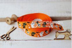 """Лента репсовая 2,5см """"Монстрики Halloween"""" на оранжевом"""