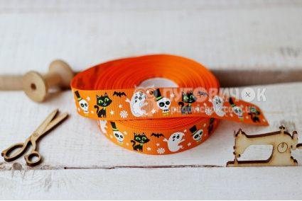 """Стрічка репсова 2,5см  """"Монстрики Halloween"""" на оранжевому"""