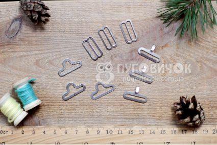 Застежка для галстука-бабочки 18мм серебряная (комплект)