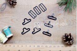 Застежка для галстука-бабочки 18мм черная (комплект)