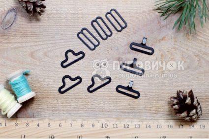 Застібка для краватки-метелика 18мм чорна (комплект)