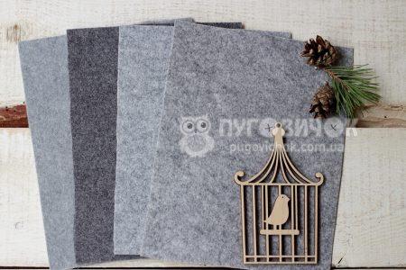 Фетр корейский жесткий серый меланж
