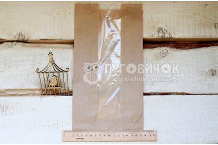 Крафт-упаковка 30,5 * 16 * 7,5 см бежевая с окошком