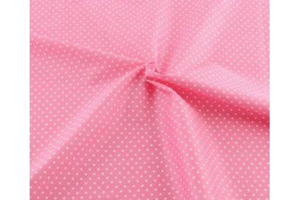 """Тканина """"Горох малий білий на рожевому"""""""