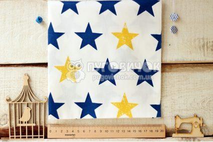 """Ткань """"Звезды синие и желтые"""" на белом"""