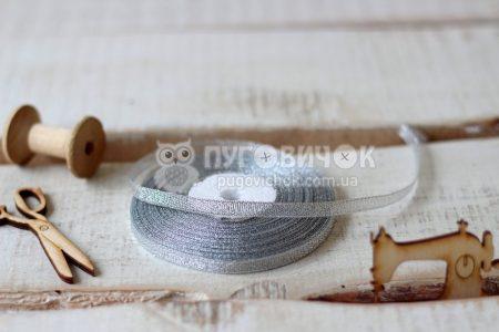 Лента парчовая 0,6см серебряная