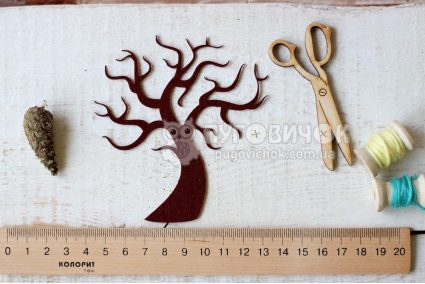 """Вирубка """"Дерево"""" з жорсткого фетру 60*30мм"""
