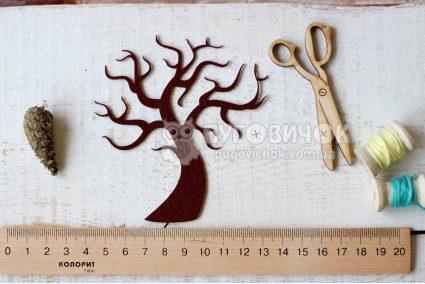 """Вырубка """"Дерево"""" из жесткого фетра 60 * 30мм"""