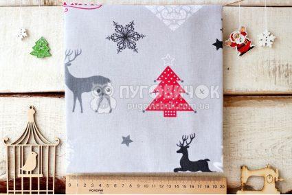 "Ткань польская ""Merry Christmas"" на сером"