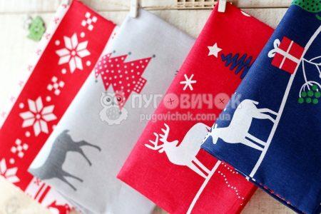 """Ткань польская """"Новогодние рисунки"""" на красном"""