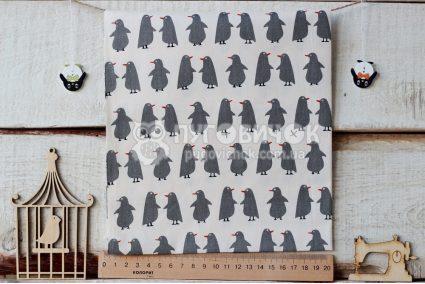"""Ткань """"Пингвины серые"""" на молочном"""