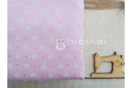 "Ткань ""Сердца белые"" на светло-розовом"