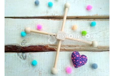 Хрестовина для мобілю деревяна  4 промені з кульками