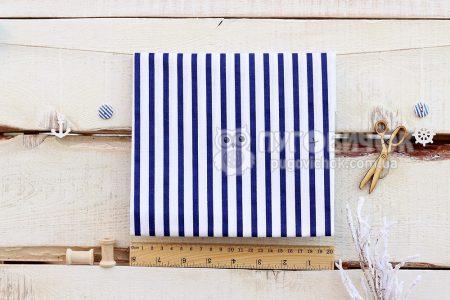 """Тканина польська """"Смужки великі сині"""" на білому"""