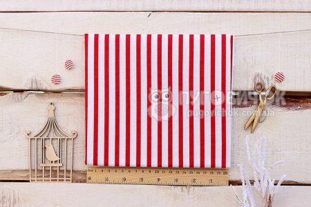"""Ткань польская """"Полоски крупные красные"""" на белом"""