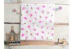 """Ткань """"Цветы розы малые розовые"""" на белом"""