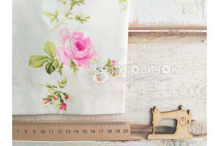 """Ткань """"Цветы розы розовые"""" на молочном"""