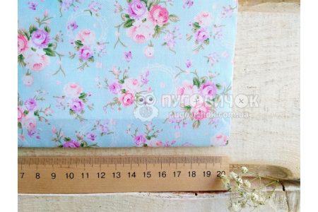 """Тканина """"Квіти троянди густі"""" на блакитному"""