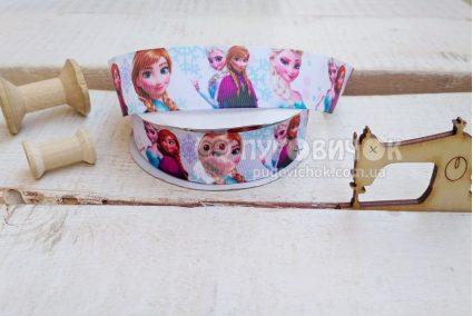 """Стрічка репсова 2,5см """"Frozen Ельза і Анна"""" на білому"""