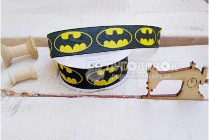 """Лента репсовая 2,5см """"Бэтмен"""" на черном"""