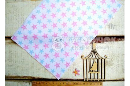 """Фетр мягкий с узором """"Морские звезды розово-голубые на белом"""""""
