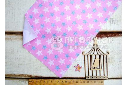 """Фетр мякий з візерунком """"Морські зірки блакитно-білі на рожевому"""""""