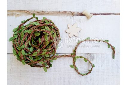 Шнур декоративный коричневый с листьями