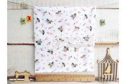 """Тканина """"Квіти малі персикові та рожеві"""" на молочному"""