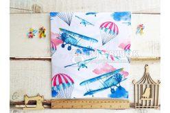 """Ткань польская """"Воздушные шары и самолеты красно-синие"""" на белом"""