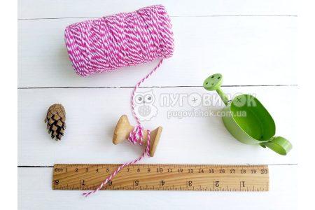 Шпагат котоновий 1,0мм біло-рожевий