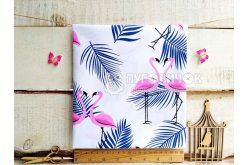 """Ткань польская """"Фламинго розовые с синей пальмовой ветвью"""" на белом"""