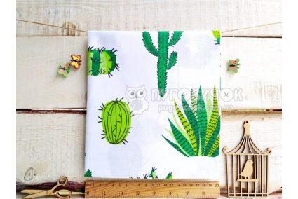 """Ткань польская """"Кактусы салатово-зеленые"""" на белом"""