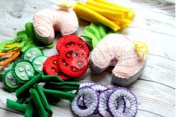 Ігровий набір з фетру «Стейк риби з овочами»