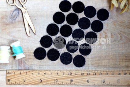 Липучка круглая 20мм черная(1+1)