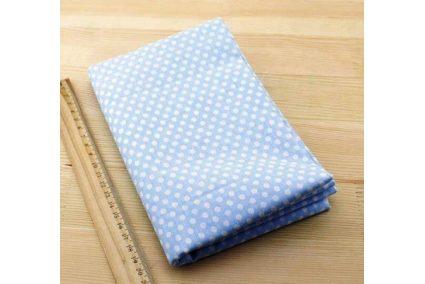 Тканина блакитна асорті 50*50см горох великий білий