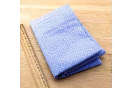 Ткань голубая ассорти 50*50см горох мелкий белый