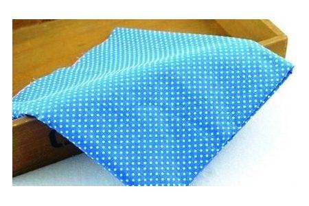 Ткань голубая ассорти 50*50см горох мелкий белый (на темно-голубом)