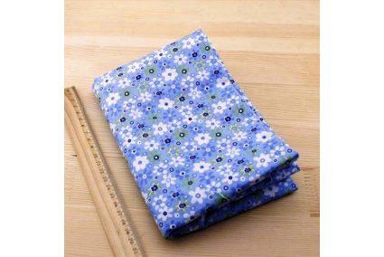 Тканина блакитна асорті 50*50см квіти великі різні