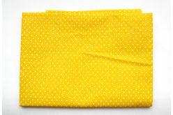 Тканина жовта асорті 50*50см горох малий білий