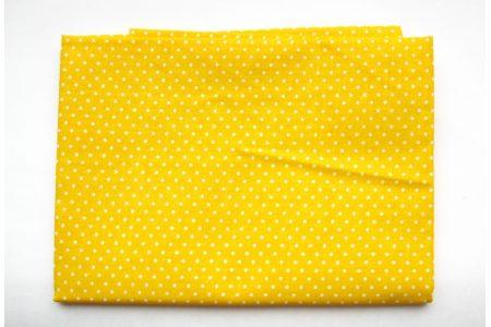 Ткань жёлтая ассорти 50*50см горох мелкий белый