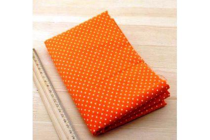 Ткань жёлтая ассорти 50*50см горох мелкий белый (на оранжевом)